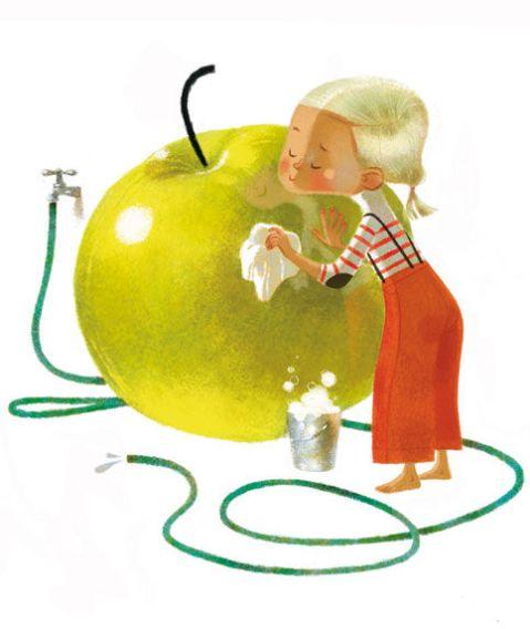 Lave tes pommes avec tes pieds pour économiser l'eau !